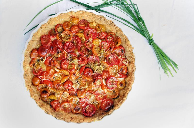 Roasted tomato scallion tart from Localmilkblog.com