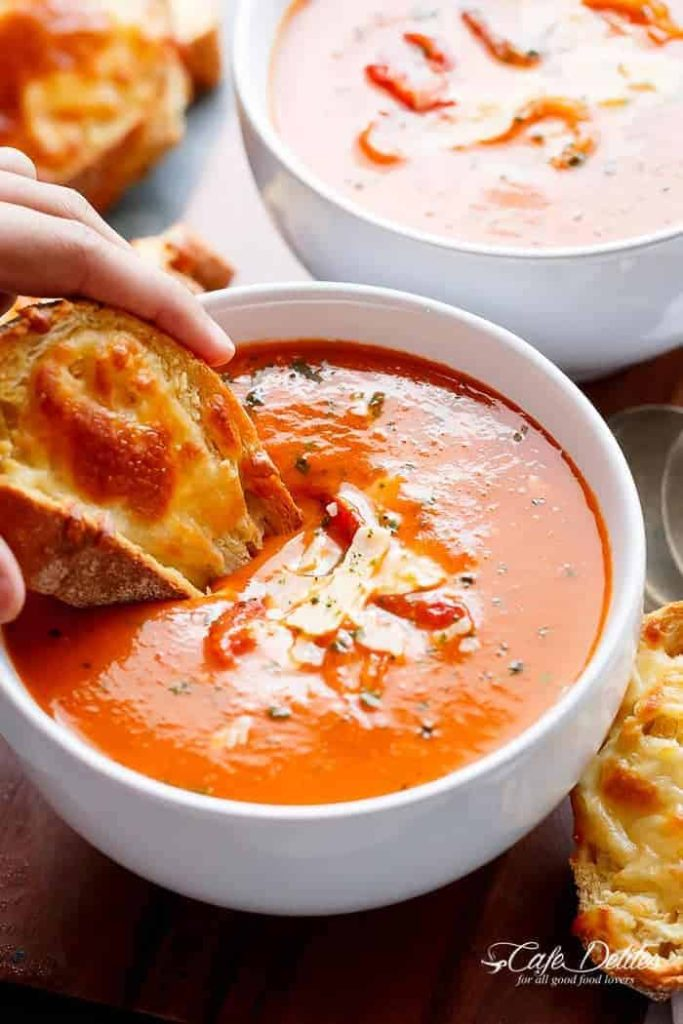 Roasted Tomato Basil Soup from cafedelites.com