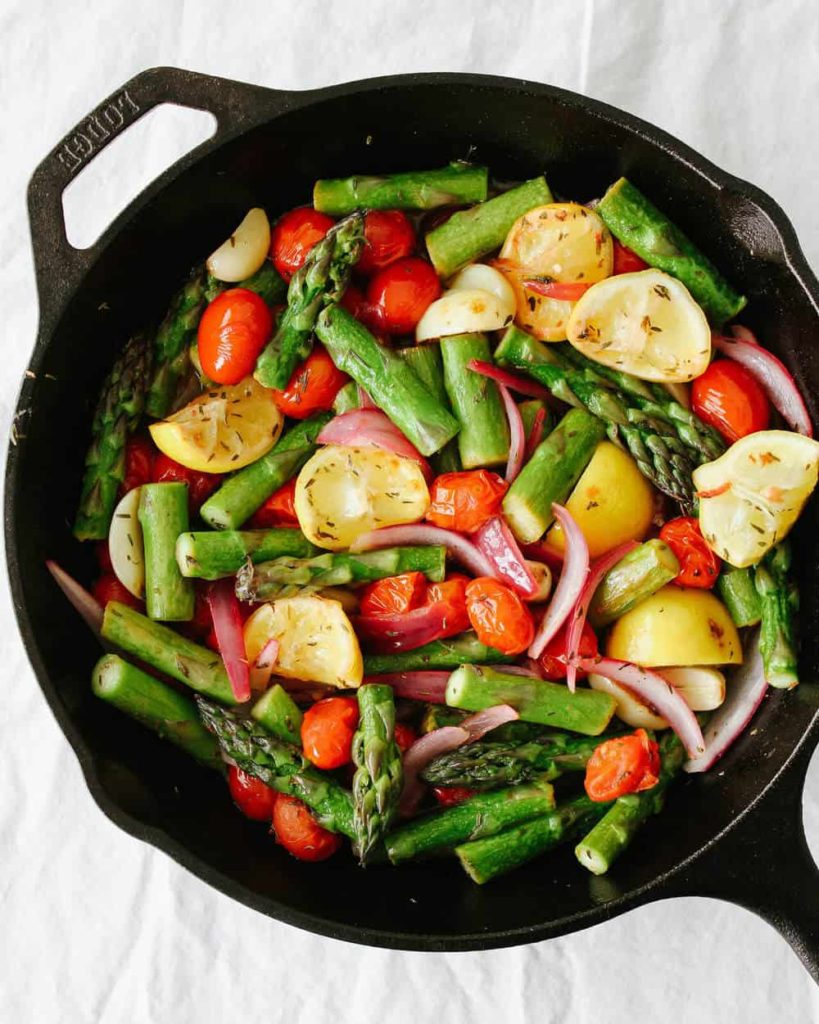 Skillet asparagus and tomato medley from simple-veganista.com